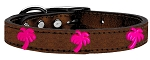 Pink Palm Tree Widget Genuine Metallic Leather Dog Collar Bronze 14