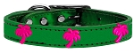 Pink Palm Tree Widget Genuine Metallic Leather Dog Collar Emerald Green 24
