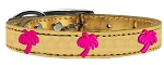 Pink Palm Tree Widget Genuine Metallic Leather Dog Collar Gold 22