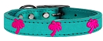 Pink Palm Tree Widget Genuine Metallic Leather Dog Collar Turquoise 12