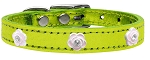 Light Pink Rose Widget Genuine Metallic Leather Dog Collar Lime Green 12