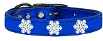 Snowflake Widget Genuine Metallic Leather Dog Collar Blue 16