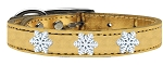 Snowflake Widget Genuine Metallic Leather Dog Collar Gold 16
