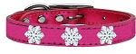 Snowflake Widget Genuine Metallic Leather Dog Collar Pink 18