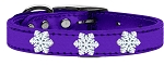 Snowflake Widget Genuine Metallic Leather Dog Collar Purple 18