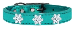 Snowflake Widget Genuine Metallic Leather Dog Collar Turquoise 22