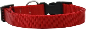 Plain Nylon Dog Collar XS Red