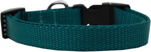 Plain Nylon Dog Collar SM Teal