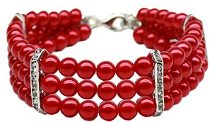 Three Row Pearl Necklace Red Md (10-12)