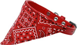 Red Western Bandana Pet Collar Red Size 10
