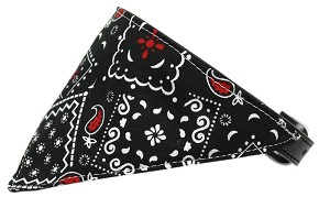 Black Western Bandana Pet Collar Black Size 16