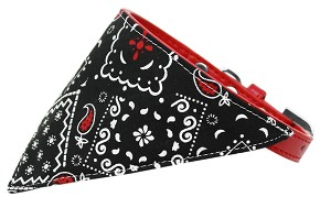 Black Western Bandana Pet Collar Red Size 20