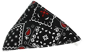 Black Western Bandana Pet Collar White Size 12