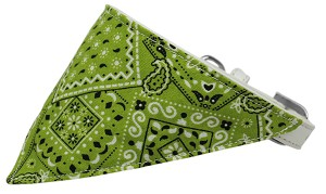 Lime Green Western Bandana Pet Collar White Size 14