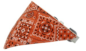 Orange Western Bandana Pet Collar White Size 16