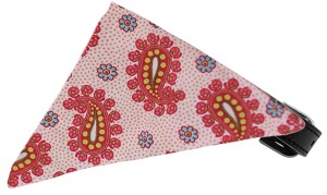 Light Pink Pretty Paisley Bandana Pet Collar Black Size 18
