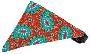 Red Pretty Paisley Bandana Pet Collar Black Size 10