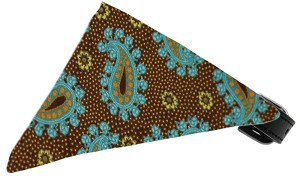 Brown and Blue Pretty Paisley Bandana Pet Collar Black Size 20