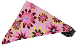 Bubblegum Pink Crazy Daisies Bandana Pet Collar Black Size 12