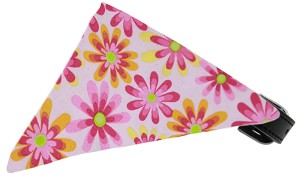 Light Pink Crazy Daisies Bandana Pet Collar Black Size 18