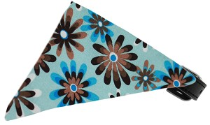 Baby Blue Crazy Daisies Bandana Pet Collar Black Size 20