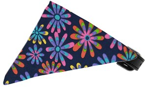 Navy Crazy Daisies Bandana Pet Collar Black Size 16