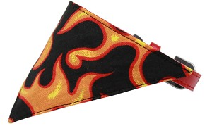 Orange Flame Bandana Pet Collar Red Size 18