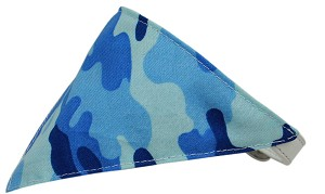 Blue Camo Bandana Pet Collar White Size 14