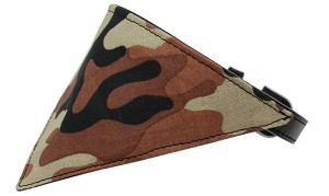 Brown Camo Bandana Pet Collar Black Size 20