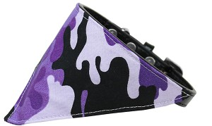 Purple Camo Bandana Pet Collar Black Size 18