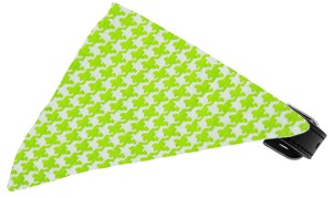 Lime Houndstooth Bandana Pet Collar Black Size 10