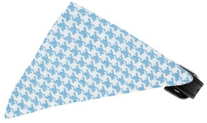 Baby Blue Houndstooth Bandana Pet Collar Black Size 16