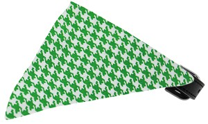 Emerald Green Houndstooth Bandana Pet Collar Black Size 16