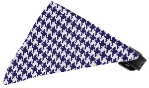 Purple Houndstooth Bandana Pet Collar Black Size 16
