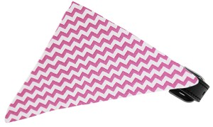 Bubblegum Pink Chevron Bandana Pet Collar Black Size 16