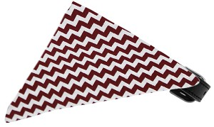 Maroon Chevron Bandana Pet Collar Black Size 10