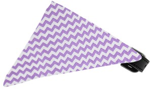 Lavender Chevron Bandana Pet Collar Black Size 20