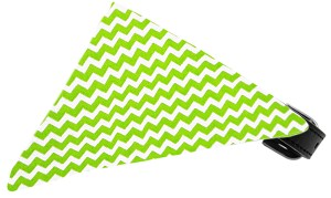 Lime Chevron Bandana Pet Collar Black Size 20