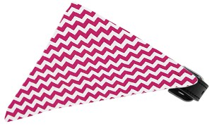 Bright Pink Chevron Bandana Pet Collar Black Size 16