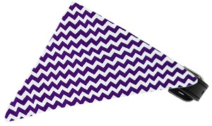 Purple Chevron Bandana Pet Collar Black Size 10