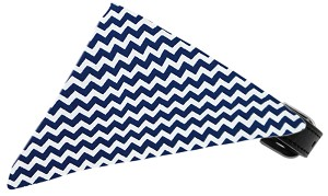 Navy Chevron Bandana Pet Collar Black Size 14