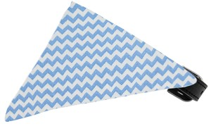 Baby Blue Chevron Bandana Pet Collar Black Size 14