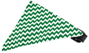 Emerald Green Chevron Bandana Pet Collar Black Size 20