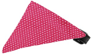 Bright Pink Swiss Dots Bandana Pet Collar Black Size 18