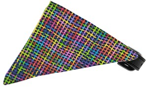 Neon Party Plaid Bandana Pet Collar Black Size 12