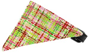 Lime and Pink Party Plaid Bandana Pet Collar Black Size 12