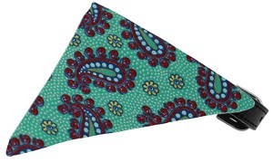 Aqua Pretty Paisley Bandana Pet Collar Black Size 12