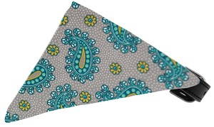 Grey Pretty Paisley Bandana Pet Collar Black Size 18