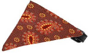 Autumn Pretty Paisley Bandana Pet Collar Black Size 20