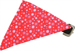 Red Snowflake Bandana Pet Collar Black Size 10